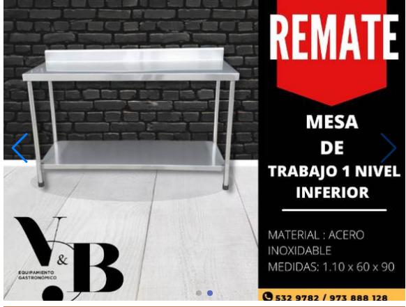 REMATE DE MESAS DE TRABAJO EN ACEOR INOXIDABLE