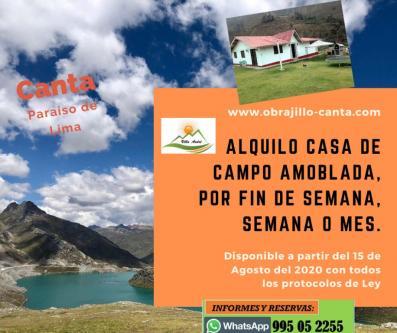 4 Cuartos, 160 m² – ALQUILO CASA DE CAMPO EN CANTA, OBRAJILLO, A 3 HORAS DE LIMA
