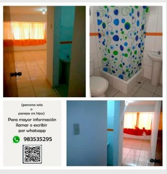 1 Cuarto, 12 m² – SE ALQUILA AMPLIA HABITACIÓN IDEAL PARA PAREJAS S/.370 SMP - INC
