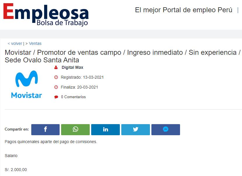Movistar / Promotor de ventas campo / Ingreso inmediato / Sin experiencia / Sede Ovalo Santa Anita