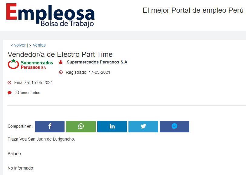 Vendedor/a de Electro Part Time