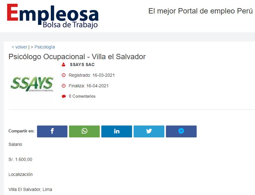 Psicólogo Ocupacional - Villa el Salvador