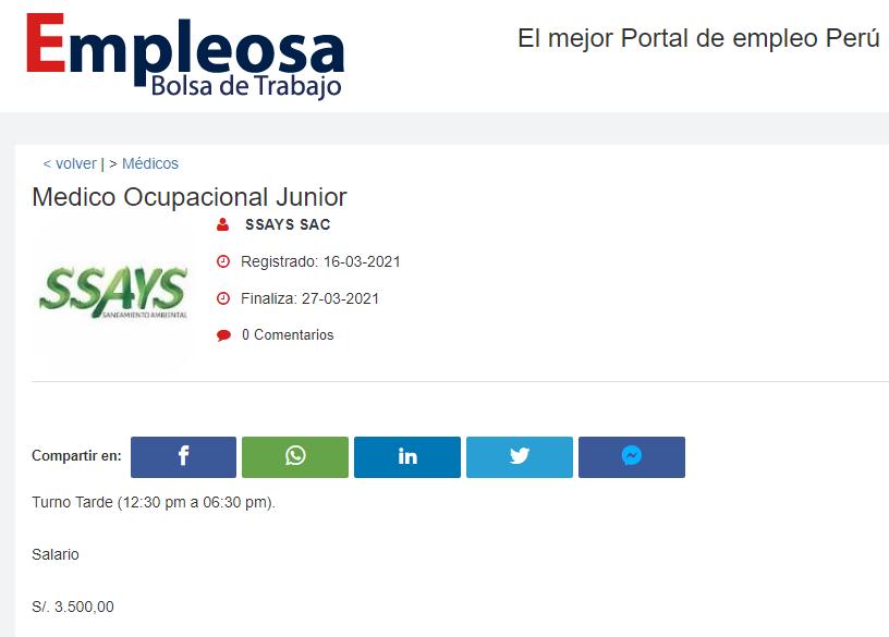 Medico Ocupacional Junior
