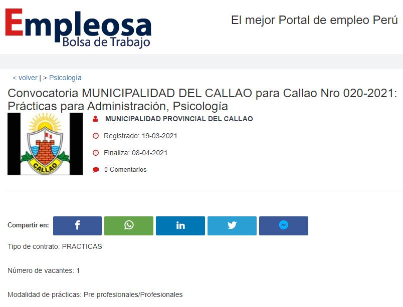 Convocatoria MUNICIPALIDAD DEL CALLAO para Callao Nro 020-2021: Prácticas para Administración, Psicología