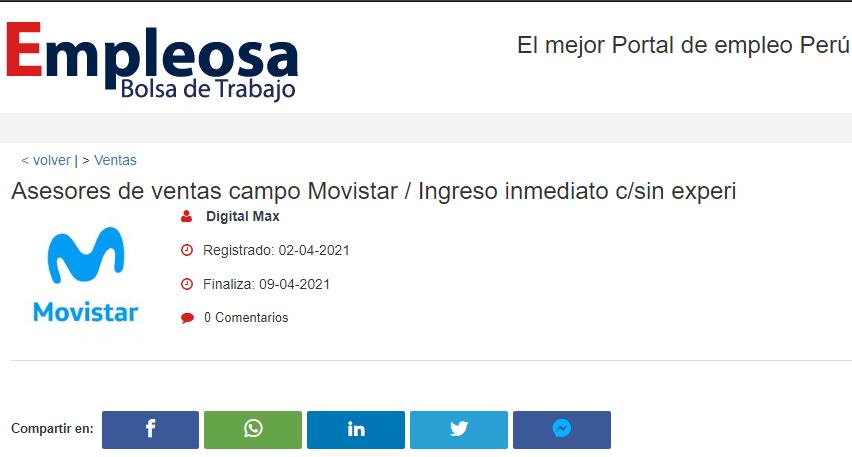 Asesores de ventas campo Movistar / Ingreso inmediato c/sin experi