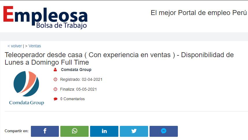 Teleoperador desde casa ( Con experiencia en ventas ) - Disponibilidad de Lunes a Domingo Full Time