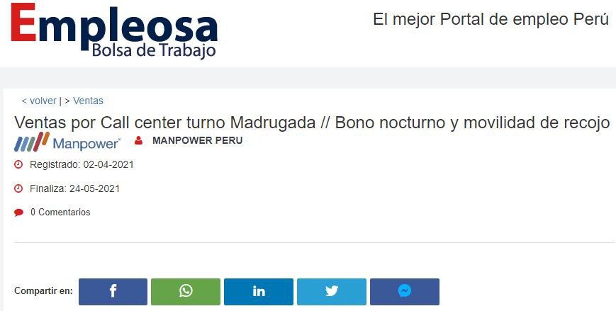 Ventas por Call center turno Madrugada // Bono nocturno y movilidad de recojo